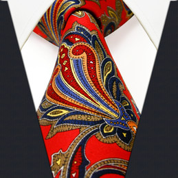 Wholesale Q28 Floral Red Crimson Khaki Yellow Blue Azure Mens Ties Necktie Printing Handmade New