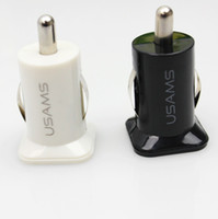 Wholesale USAMS A USB Dual Car Charger V mah Dual Port car Chargers Adapter for iPhone S iPod iTouch HTC Samsung s3 s4 s5