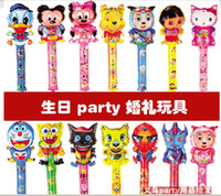 Wholesale Novelty Large scale cm Cartoon Aluminum Foil Balloon Stick Animal Head Balloons Refueling Inflatable Rods Cheer Item