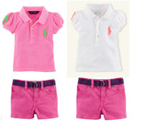 Wholesale Hot Summer Girls Polo Puff Short Sleeve Shirts Waitbelt Shorts Sets Children Clothing Pink Pleated Sleeve Half Pants Outfit Sets H0175