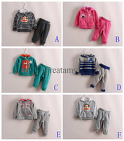 Wholesale Spring autumn newborn baby clothes set owl butterfly robot money printed baby boys girls outfits long sleeve hoodie with pants kids suits