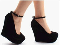 ans ankle - Hot Sale Europe ans America suede purple wedges black wedges women s ankle strap high plarform wedges heel shoes colors