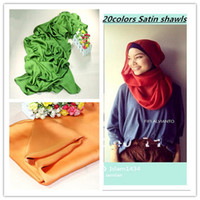 Wholesale 20 colors Latest Women Silk Satin Scarf Muslim Hijab Shawls
