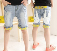 Wholesale Hot Sale Spring amp Summer Girls Leisure Printed Letter Trousers Kid s Casual Cowboy Jeans Children Cartoon Rabbit Turnup Pants I0172
