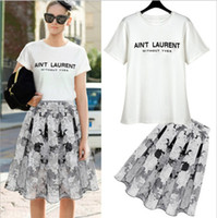 Wholesale New Arrival Women s O Neck Short Sleeves Fashion T Shirts with A Line Printed Flowers Knee Length Skirts Street Style Twinset