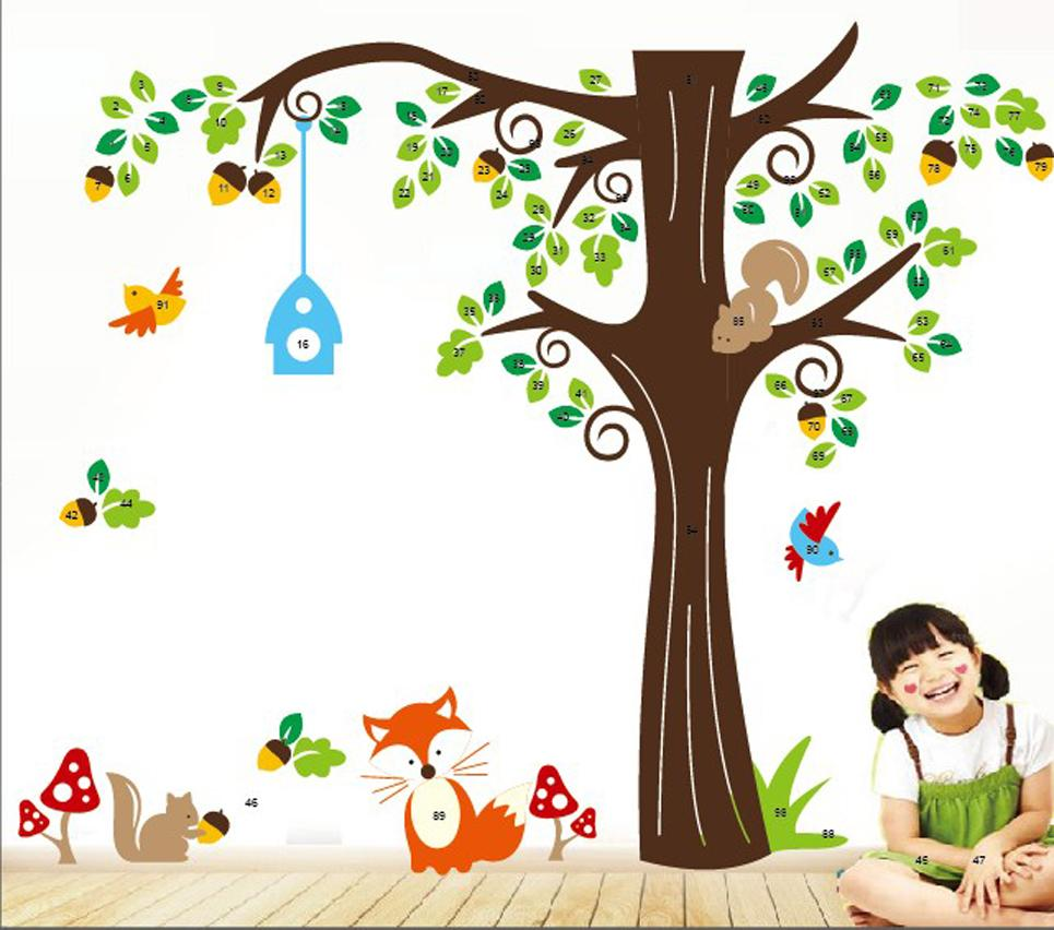 Forest animals monkeytree wall stickers cute cartoon wall decals forest animals monkeytree wall stickers cute cartoon wall decals kids children bedroom fashion wall decor good quality 2014 hot selling cartoon wall amipublicfo Images