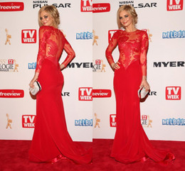 2016 Oscar Red Long Sleeves Mermaid Lace Prom Dresses Sheer Chiffon Long Sleeves Evening Gowns Dresses Zipper Crew Neckline Free Shipping