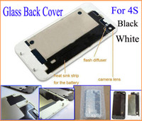 Wholesale 100pcs Back Glass Battery Housing Door Back Cover Replacement Part with Flash Diffuser for iphone S