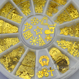 3D Metal Christmas Nail Art Decoration Slice Golden Stickers Decal Foil Wheel Nail supplies