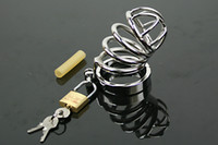 Male Chastity Cage  Newest Small Male Stainless Steel Bondage Chastity Art Device Cock Cage Ring Sex BDSM Toys A080