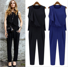 Wholesale New Arrival Women s O Neck Ruffles Street Style Fashion Long Jumpsuits amp Union Suits