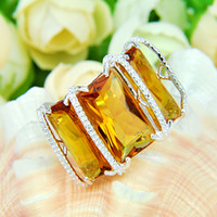 2pcs 925 silver brazil citrine crystal ring Jewelry #7 #8 #9...