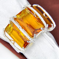 Wholesale 5pcs silver brazil citrine crystal ring Jewelry R0148