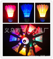 Wholesale 120PCS LED Light Badminton Light emitting Shuttlecock Glow in dark Shine Sporting Goods Night sports
