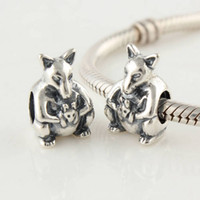 Metals Animals Silver Authentic 925 Sterling Silver Mother Kangaroo with Baby Animal Bead Fits European Pandora Jewelry Charm Beads Bracelets