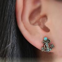 Stud anchor earring studs - Retro Vintage Fashion Anchor With Diamond Cute Earrings E0154 Blue