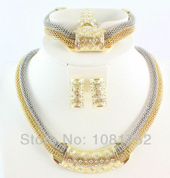Free Shipping Dubai African Gold Plated Fashion Romantic Bridal Fashion Necklace Jewelry Set For Women