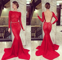Wholesale 2015 Sexy Red Long Sleeve Sheer Backless Lace Prom Gown Dresses Stunning Mermaid Bateau Red Lace Evening Dress Formal Dresses