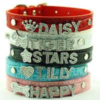 (5 colors) 50pcs Leather Dog Collars Gator Skin Personalized...