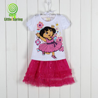 Wholesale 4 sets children clothing sets years kids clothing sets casual short sleeves cartoon T shirts lace skirts KLZ T0238