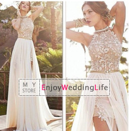 Wholesale 2016 Sexy New Halter Lace Chiffon Long Prom Dresses Illusion Beaded Crystals Applique Split Backless Floor Length Summer Beach Evening Gowns