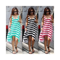 Wholesale S5Q Bohemian Neck Stripes Summer Beach Long Cocktail Evening Maxi Dress For Women AAADCV