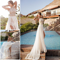 Wholesale 2014 Julie Vino Lace Appliqued Beach Wedding Dresses Halter Sleeveless Backless Beading A Line Flowing Chiffon Skirt Cheap Bridal Gowns