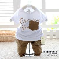 Unisex Summer Long BABY boys girls suits summer sets,cotton t-shirt+check short pants 2pcs sets high quality clothes cool clothing sets
