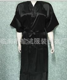Wholesale Unisex mens Ladies womens Solid plain Satin long Robe Pajama Lingerie Sleepwear Kimono Gown pjs