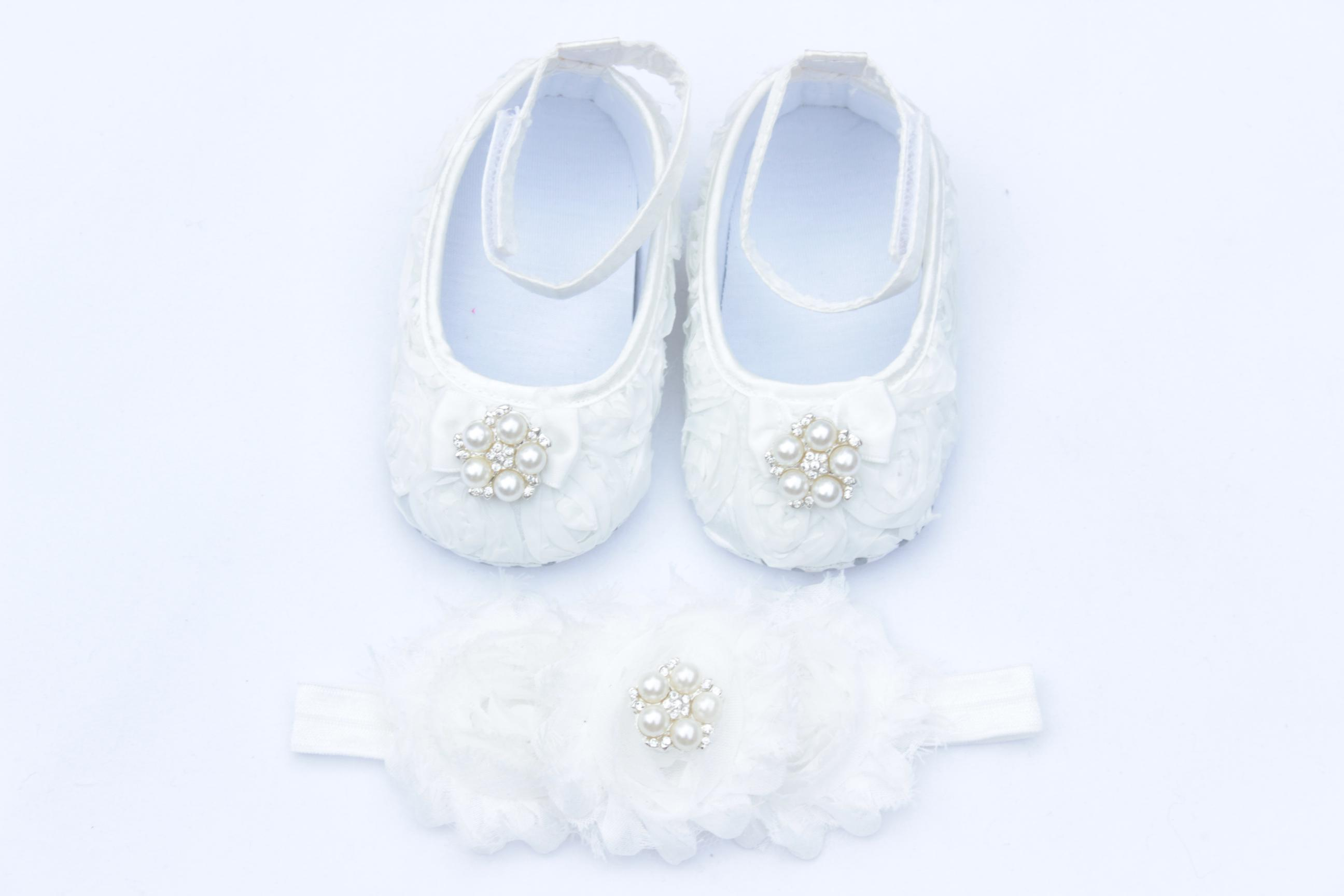 2017 White Baby Crib Shoes Baby Shoes And Headband