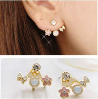 Wholesale Cute Korean Exquisite Crystal Rhinestone Love Letter Earrings Butterfly Ear Stud E0356