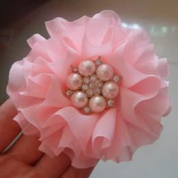 Wholesale handmade baby girls hair Ballerina Flower with pearl and rhinestone center Chiffon flowers for headbands
