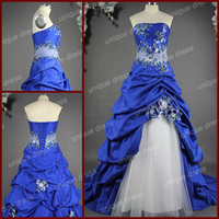 Ball Gown royal blue wedding dresses - 2014 Royal Blue Destination Wedding Dresses Of Ball Gown Strapless Cathedral Train Taffeta Net Tulle Sequins Shawl Hem Lace Hand Made Flower