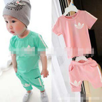 Wholesale Summer clothes Suits Baby Boys Girls Tracksuits Pure Cotton Short Sleeve T Shirt And Short Pants Piece Outfit Sets Pink Green C2138