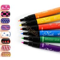 al por mayor z pluma-12 colores más baratos Design Pro Nail Art Pen pintura pintura de uñas pluma de dibujo Herramientas de manicura Envío gratuito 18969 Z