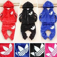 Wholesale New Hot Children Kids Clothes Velvet Sets Long Sleeve Hoodie Pants Suits Blue Black Fushcia Red Colors For Choose C2141