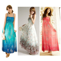 Strapless gypsy dresses - S5Q Women Ladies Chiffon Boho Gypsy Hippie Maxi Summer Beach Slip Dress Sundress AAADCX
