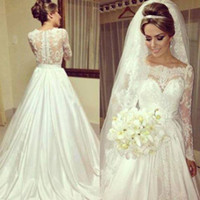 2014 Ivory A line long sleeve lace wedding dresses with off ...