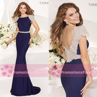 Reference Images Crew Satin 2014 Evening Gowns Tarik Ediz Crew Neck Capped Sleeves Crystals Beaded Backless Court Train Luxury Mermaid Evening Dresses TE92057