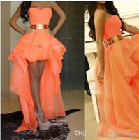 2014 graduation dresses Orange A line organza Hi- lo short st...