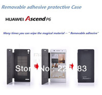 best flip book - 5 colors Best PU leather case for Huawei Ascend P6 book flip ultra thin mobile phone luxury cover piece screen PF as gift