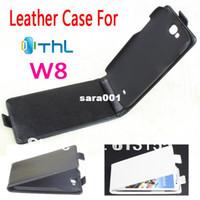 THL W8 W8S Caso, los Nuevos de Alta Calidad Genuina Filp de Cuero Cubierta de la caja para THL W8 W8S caso de que el envío libre color Negro