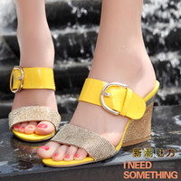 Wholesale Arrival Bling Fashion cuicanduomu Lady Fisherman Shoes Sandals Rhinestones Buckle Horseshoe Female Wedges Simple Slippers
