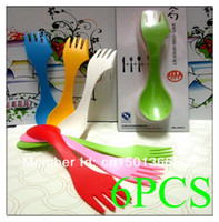 Wholesale 6x Spoon Fork Knife Camping Hiking Utensils Spork Combo Gadget Kitchen Cutlery Travel