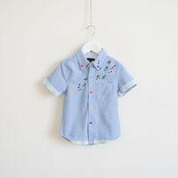 Spring / Autumn 100% cotton shirt fabric - Euramerican summer boy s printing short sleeve shirt kids cotton shirt Oxford fabric T shirt all size