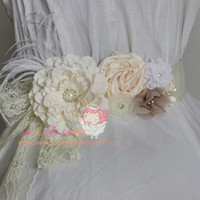 Wholesale Floral wedding sash Ivory fabric flower with lace pearls Rhinestone and Feathers belt flower girl sash bridal sash
