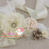 Wholesale Floral wedding sash Ivory fabric flower with lace pearls Rhinestone and Feathers belt flower girl sash bridal sash