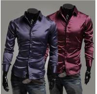 Formal Men Silk Free Shipping 2015 Brand Silk Design Mens Shirts high quality Casual Slim Fit Stylish Dress Shirts 3 Colors Size:M~XXL