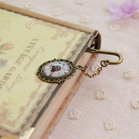 Wholesale Creative Metal Bookmarks Glass Cabochon Pendant Bird Cage Showcase Eiffel Tower Printed Bronze Feather Phenix Mermaid Hook Bookmarks sq002