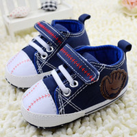 Wholesale jeans baby shoes branded Cute baseball style infant sneakers baby shoes pairs